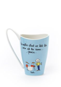 Celebrity designed mugs. This one is by Phil Collins. I purchased a set for my sister & bro-in-law and they loved them.