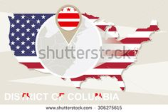 USA map with magnified District of Columbia. District of Columbia flag and map.