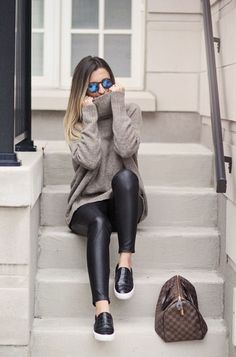 Leather Leggings And Pullover