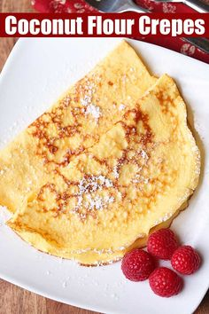 Keto coconut flour crepes are light and tasty. They have a pleasantly neutral fl… Keto coconut flour crepes are light and tasty. They have a pleasantly neutral flavor, so you can fill them with sweet or savory fillings. Healthy Food Blogs, Healthy Desserts, Healthy Recipes, Banting Desserts, Healthy Breakfasts, Juice Recipes, Gluten Free Desserts, Vegetarian Recipes, Crepe Recipes