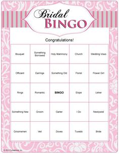 Fun Bridal Shower Printable Games: Bridal #Bingo
