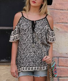 This Black & White Damask Cutout-Shoulder Top by Angie Apparel is perfect! #zulilyfinds