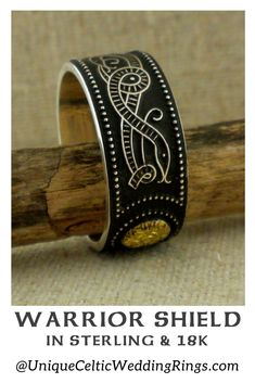 Wide Celtic Warrior Shield Wedding Band with Bead — Unique Celtic Wedding Rings Irish Wedding Rings, Wedding Bands, Celtic Shield, Romantic Weddings, Green Weddings, Celtic Warriors, Irish Celtic, Celtic Designs, Wedding Photography Poses