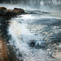 To Burgh Island by Stewart Edmondson at the Dart Gallery, Dartmouth in Devon. Watercolor Landscape, Abstract Watercolor, Landscape Art, Landscape Paintings, Abstract Art, Landscapes, Great Works Of Art, Encaustic Art, Sea Art