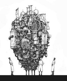 Artwork and Illustration Arte Robot, Robot Art, Art Sketches, Art Drawings, Steampunk Drawing, Environment Concept Art, Sketchbook Inspiration, Pen Art, Dieselpunk