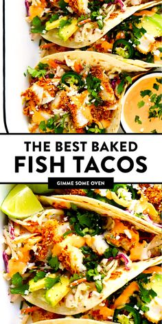 Life-Changing Crispy Baked Fish Tacos The BEST fish taco recipe! These fish tacos are made with crispy baked Panko-crusted fish, cilantro lime slaw, chipotle crema, avocado, and whatever other toppings you love most! They're also easy to Mexican Food Recipes, Vegetarian Recipes, Cooking Recipes, Healthy Recipes, Recipes Dinner, Fish Recipes Gluten Free, Mexican Bake Recipe, Healthy Scallop Recipes, Healthy Mexican Food