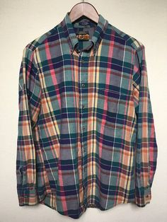 1980s Vintage plaid flannel shirt men's M cotton plaid