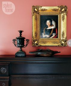 Farrow & Ball's Book Room Red, dark mantel and accessories, gold-framed art Farrow Ball, Red Interiors, Colorful Interiors, Wall Colors, House Colors, Colours, Glam House, Vintage Botanical Prints, Dining Room Inspiration
