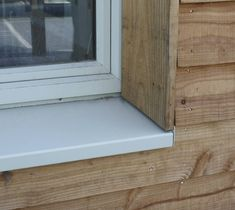 sill pan good, jamb trim too narrow to stop lap siding- another would be better Larch Cladding, House Cladding, Exterior Cladding, House Siding, House Paint Exterior, Sas Entree, Clapboard Siding, Wooden Facade, Structural Insulated Panels
