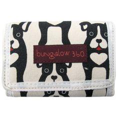 Bungalow360ビーガン三つ折り財布(黒犬)