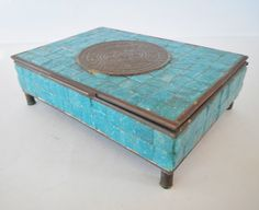 Vintage Mexican Brass and Turquoise Trinket Box  by rust2retro