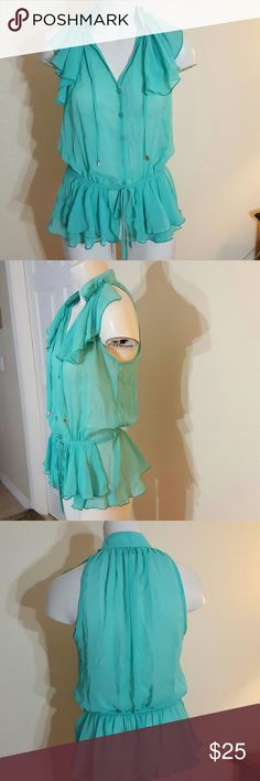 Kelso career Agua chiffon see true shirt size 8. Very cute see true 2 layers of ruffles in front at the waist. 1 single ruffle with elastic on the back waistline. button up in front also ruffles details on both sides at front shoulders Kelso career  Tops Blouses