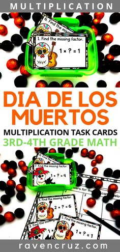 These multiplication task cards are a great way to celebrate Dia de los Muertos in math, as well as practice multiplication fluency. The task cards cover facts 1 and are ideal for third-grade and fourth-grade math. Multiplication Strategies, Teaching Multiplication, Math Math, Math Fractions, Math Class, Math Activities, Math Games, Holiday Activities, Math Resources