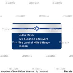 Navy Star of David White Blue Satin Trim Address Label Custom Address Labels, Star Of David, Personalized Stationery, Blue Satin, Where The Heart Is, White Elephant Gifts, Business Supplies, How To Be Outgoing, Navy
