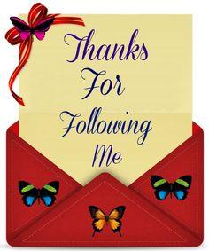 Thanks for following me!, rettak, Teena, Nikki, Kenda, Cindy, Laura, Sherry, Buffy . Sarah