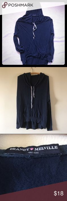 BRANDY MELVILLE Hoodie Navy Blue Sweatshirt  OS Pre- ownedBRANDY MELVILLE Long Sleeve Hooded Navy Blue - ONE SIZE  Shoes some signs of natural distressing typical of Brandy Melville and has signs of some wear, but in overall good condition Brandy Melville Tops Sweatshirts & Hoodies