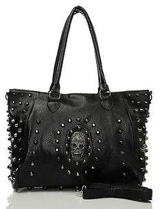 Stunning Large Black & Silver Metal Stud Skull Zip Punk Emo Goth Shoulder Bag