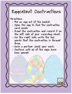 Free Eggcellent Contractions activity