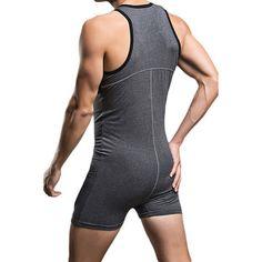 ab7860b425 SUPERBODY Sexy Sleepwear Pure Cotton One Piece Siamese Vest Home Body  Sculpting Pajamas for Men Pyjama