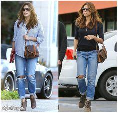 Double Take - Eva Mendes In Distressed Boyfriend Jeans
