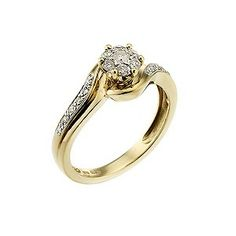 9ct Two Tone Quarter Carat Diamond Cluster Ring - Product number 6658296