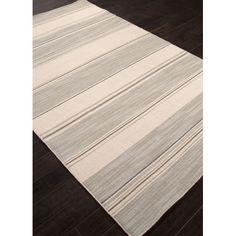 Jaipur Rugs C. L. Dhurries Gray/Ivory Stripe Area Rug $330. not plush (flat)