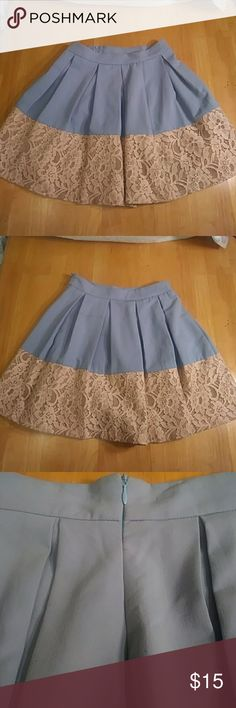 Altar'd State Chambray & Champagne Skirt -- xs This pleated rounded skirt from Altar'd State is contrasted from Chambray to a wide hem of champagne colored lace. In like new condition. Altar'd State Skirts