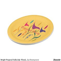 Custom Bright Tropical Calla Lily  Floral Garden Party 7 Inch Paper Plate