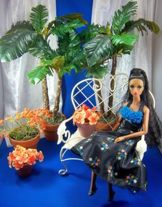 How to make barbie sized palm trees.  Great for dollhouse!