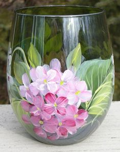 Items similar to Pink & White Hydrangeas Hand Painted Stemless Wine Glass on Etsy Wine Glass Crafts, Wine Bottle Crafts, Wine Bottles, Bottle Painting, Bottle Art, Painting On Glass, Glass Painting Designs, Hand Painted Wine Glasses, Glass Design