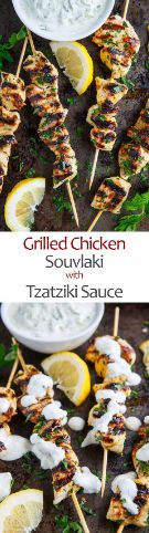 A tasty Mediterranean lemon, garlic and oregano skewered grilled chicken that is perfect in pitas, in salads or right off the stick. Easy Healthy Recipes, Easy Dinner Recipes, Diet Recipes, Chicken Recipes, Garlic Roasted Potatoes, Chicken Souvlaki, Grilled Chicken, Family Meals, Grilling