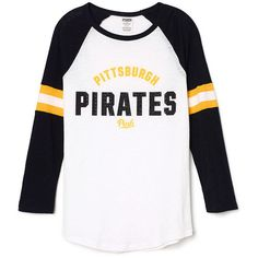 PINK Pittsburgh Pirates Baseball Tee ($43) ❤ liked on Polyvore featuring tops, t-shirts, black, curved hem tee, pink t shirt, relaxed fit t shirt, relaxed tee and baseball style t shirts