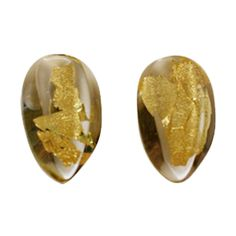 Monies Lucite and Gold Leaf Earrings | From a unique collection of vintage clip-on earrings