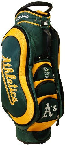 MLB Oakland Athletics Medalist Cart Bag, Yellow by Team Golf. $149.99. 50% nylon/50% plastic. External putter well and 3 lift assist handles. Padded strap with strap pouch and fleece-lined valuables pouch. Removable rain hood and umbrella holder and towel ring. 8 location embroidery and 5 zippered pockets. Integrated top handle and 14-way full length dividers. This bag is loaded with features, including integrated top handle, 14-way full length dividers, 8 location em...