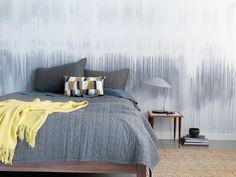 Wandgestaltung mit Farbe - Wasserfarbe im Schlafzimmer