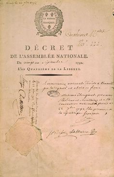 Drecree abolishing the French monarchy, 21st of September 1792