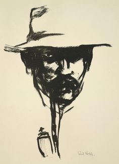 'Head with pipe, E.N.' [self-portrait] by Emil Nolde, 1907