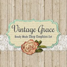 Shabby Vintage Banners, Icon Avatars, Business Card, Logo Label + More - Ready Made Etsy Graphics, 13 Premade Files - VINTAGE GRACE
