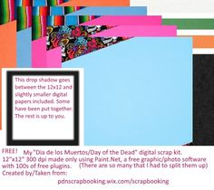 Gratis el cuaderno de recortes para usted. FREE digital scrap papel papers Dia de los Muertos Day of the Dead, created for educational purposes with the free software Paint.Net