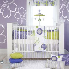 Glenna Jean Baby Girl Purple Green Hawaiian Crib Nursery Bedding Quilt Bed Set [Baby,Combo #1 (3pc Set)]