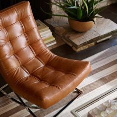 James Nickel & Leather Chair, Tuscan Leather, Solid, Bourbon - available in dark brown color