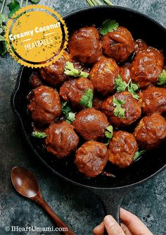 Creamy Coconut Milk Meatballs. Insanely delicious juicy savory meatballs, paired with luscious coconut cream sauce. Paleo Whole30 family friendly.