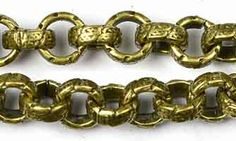 Antique Brass Chain _#74: 6.5mm Large Etched Rolo Chain by the foot at OhioBeads.com