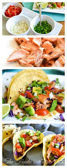Salmon Tacos with Deconstructed Guacamole Recipe, perfect for a quick weeknight dinner!- 21 Day Fix: 1 RED, 1 YELLOW, 1/2 GREEN, 1 BLUE