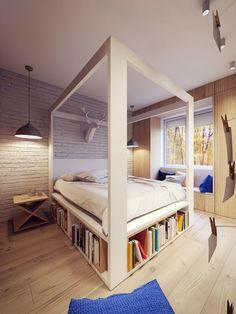 Schlafzimmer Aus Holz Mit Eingebautem Regal