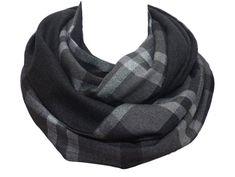 Cotton   Wool fabrics, Top quality infinity scarf, mens woman, loop neck  warmer, gray patchwork plaid tartan checked 873bacb15c2