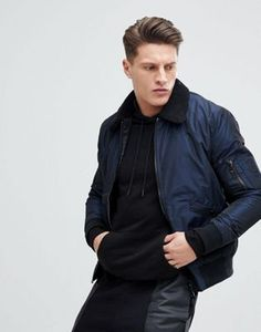 New Look Bomber Jacket With Borg Collar In Navy