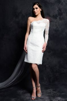 2015 Spring Sheath One Shoulder Lace Short Wedding Dresses,Hall Wedding Gowns Wedding Dresses Denver, Short Wedding Gowns, Affordable Wedding Dresses, Tea Length Wedding Dress, Wedding Dresses Plus Size, Wedding Dress Sleeves, White Wedding Dresses, Bridal Gowns, Sleeve Dresses