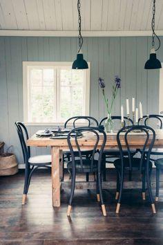 Beautiful Scandinavian Dining Room Design Ideas #diningroom #diningroomdesign #scandinaviandiningroomdesign Farmhouse Dining Room Table, Dining Room Table Decor, Dining Room Design, Dining Furniture, Rustic Farmhouse, Wood Table, Dining Tables, Furniture Ideas, Wood Desk