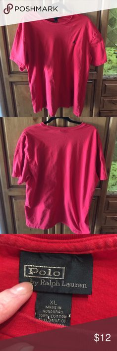 """Polo by Ralph Lauren Men's Red tee XL Very good used condition, no flaws , slight color fade. Mens Polo Tee. XL. 100% Cotton Armpit to armpit measures 23"""" Length is 29"""". Thanks for looking. Please take a peek at my other listings.  Thank you for the shares. Bundle and save!!! Polo by Ralph Lauren Shirts Tees - Short Sleeve"""